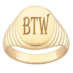 Men's Personalized Engraved Oval Signet Ring