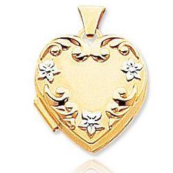 14k Yellow Gold Stylish Flowers Heart Locket