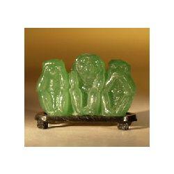Glass Monkeys Figurine on a Stand