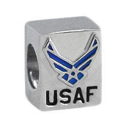 Air Force Sterling Silver European Charm Bead