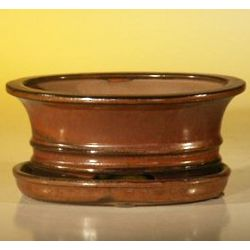 Aztec Orange Ceramic Bonsai Pot with Attached Drip Tray