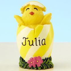 Personalized Yellow Stripe Easter Chick Figurine