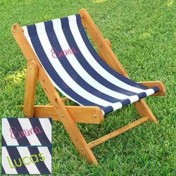 Kid's Personalized Striped Outdoor Sling Chair