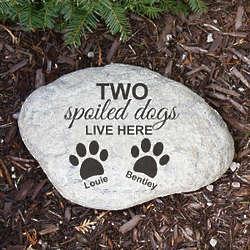 Engraved Spoiled Dog Garden Stone