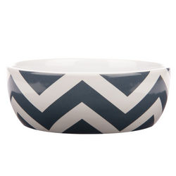 Ceramic Chevron Design Dog Bowl