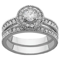 Silvertone Halo Cubic Zirconia and Crystal Wedding Ring