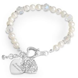 Engraved Freshwater Pearl and Clear Crystal Heart Bracelet