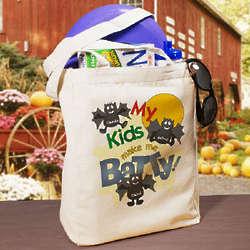 Batty Kids Personalized Halloween Tote Bag