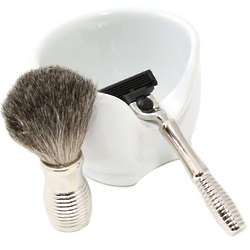 Mach 3 Razor with Badger Brush and Porcelain Soap Dish