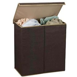 Brown Double Laundry Sorter with Lid