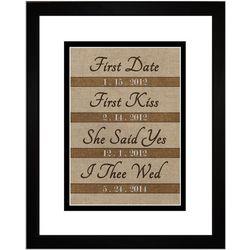 Couple's Personalized Milestone Dates Burlap Art Print