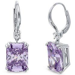 Radiant Purple Cubic Zirconia Leverback Dangle Earrings