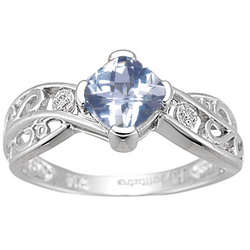 Aquamarine & Diamond Ring in 14K White Gold