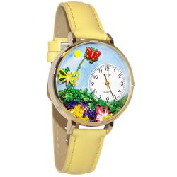 Butterflies Whimsical Watch in Large Gold Case