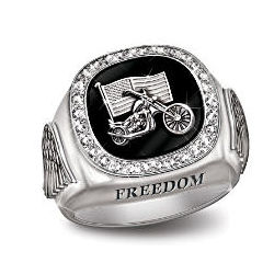 Sterling Silver and Diamond Biker Ring