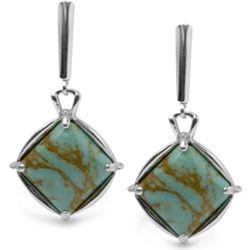 Kingman Blue Green Turquoise Diamond Earrings