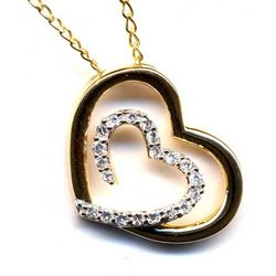 18K Gold Plated Double Hearts Pendant with CZ