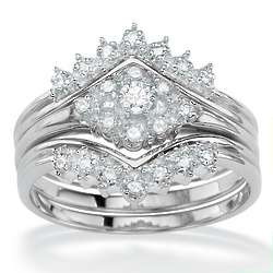 Platinum and Round Diamond Wedding Ring Set