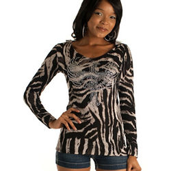 Tiger Print Long Sleeve Hooded Top