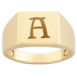 Men's Personalized Engraved Square Signet Ring
