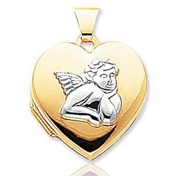 14k Yellow Gold Rhodium Angel Heart Locket