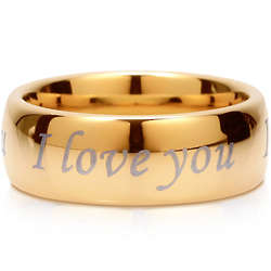 I Love You Goldtone Tungsten Carbide Ring
