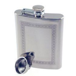 Engraved Greek Key Pattern Hip Flask