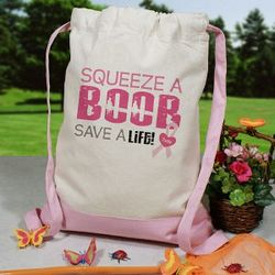 Squeeze a Boob Breast Cancer Awareness Backpack