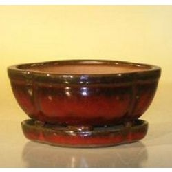 Parisian Red Bonsai Pot with Attached Drip Tray