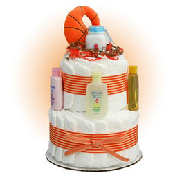 Mini Basketball 2-Tier Diaper Cake