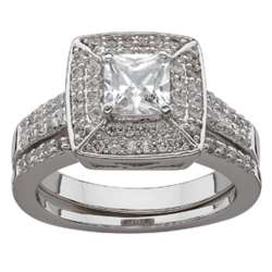 Silvertone Halo Square Cubic Zirconia Wedding Ring Set