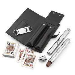 Flask Cigar Set with Playing Cards