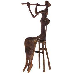 Brass Flutist Figurine