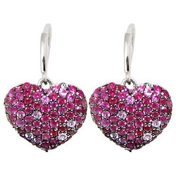Balissima Splash Ruby and Pink Sapphire Heart Earrings