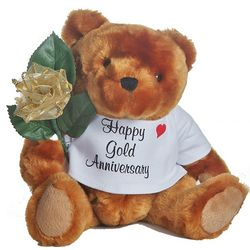 50th Anniversary Teddy Bear with Golden Rose