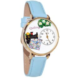 Quilting Whimsical Watch in Large Gold Case