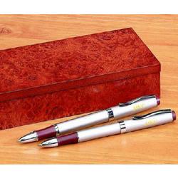 Personalized Pen Set with Burlwood Case