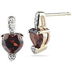 Diamond & Garnet Earrings in 14K Yellow Gold