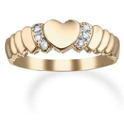 Diamond 14k Gold Rippled Heart Promise Ring