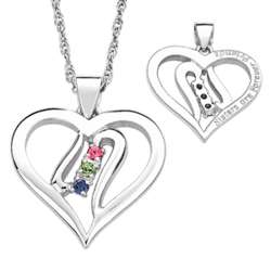 Sterling Silver Sister's Birthstone Heart Necklace