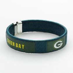 Green Bay Packers Silver Fan Band Cuff Bracelet
