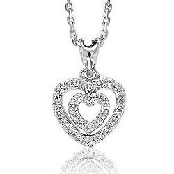 14k Diamond White Gold Double Open Heart Necklace
