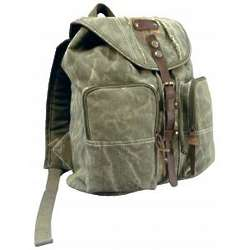 Stonewashed Olive Drab Backpack with Leather Accents