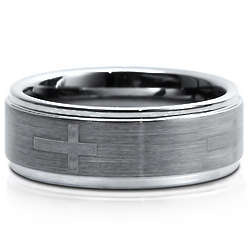 Step Down Design Brushed Tungsten Carbide Ring