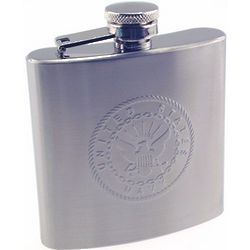 Engravable Navy Emblem Stainless Steel Flask