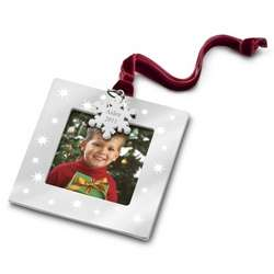 Silver and Stars Picture Frame Christmas Ornament