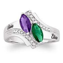 Couple's Marquise Birthstone and Diamond Name Ring