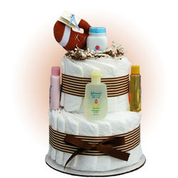 Mini Football 2-Tier Diaper Cake
