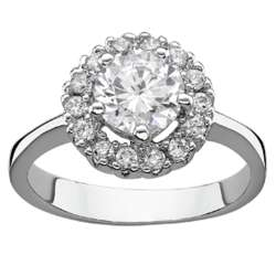 Silvertone Halo Cubic Zirconia Solitaire Engagement Ring