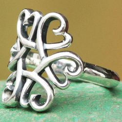 Hearts Together Sterling Silver Cocktail Ring